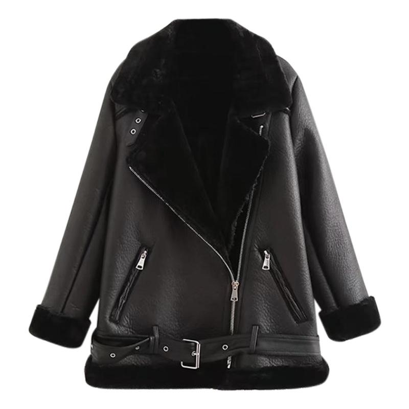 2018 Fashion Women Winter Imitation Faux Leather Jacket Fur Patchwork Lambs Wool Fur Collar Suede Outwear Moto Biker Thick Coat