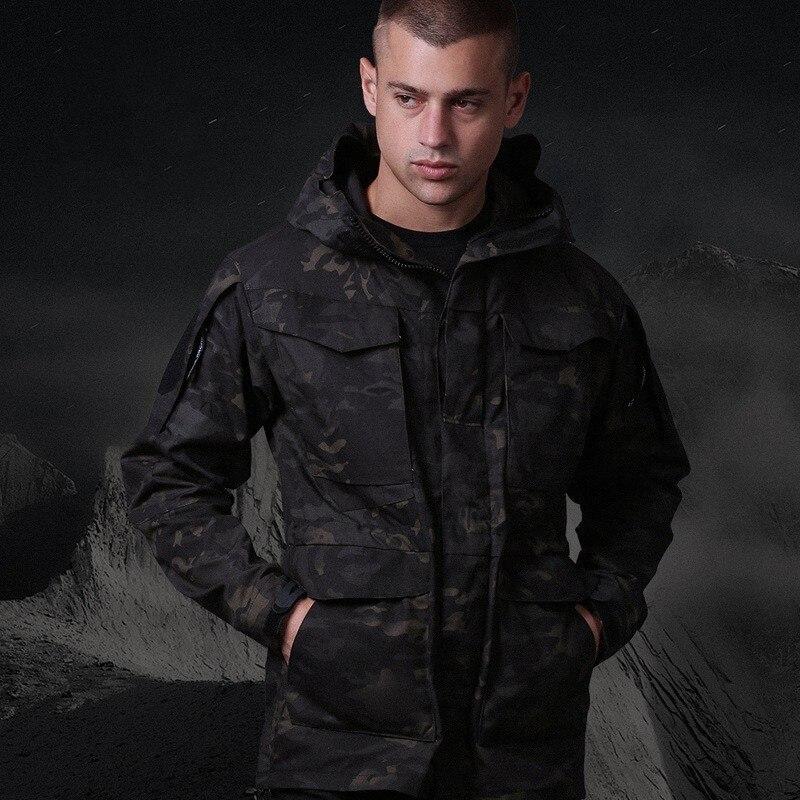 Men Outdoor Tactical Windbreaker M65 Army Jacket Spring Autumn Hiking Hunting Training Waterproof Warm Hoody Military