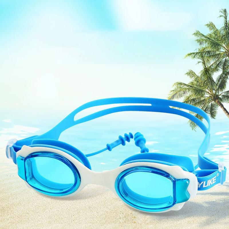 Colorato Regolabile Per Bambini Per Bambini Occhiali Da Nuoto In Silicone Impermeabile HD Trasparente Anti-fog Vetri di Nuoto Con Tappi Per Le Orecchie