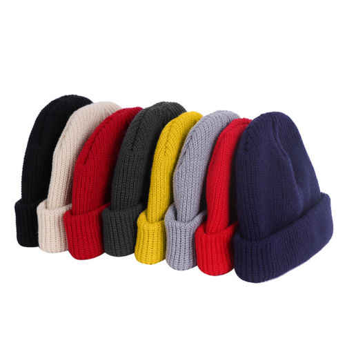 0450f48bb6e ... 1pc Unisex Men Women Beanie Hat Warm Ribbed Winter Turn Ski Solid Fisherman  Docker Cap Fashion ...