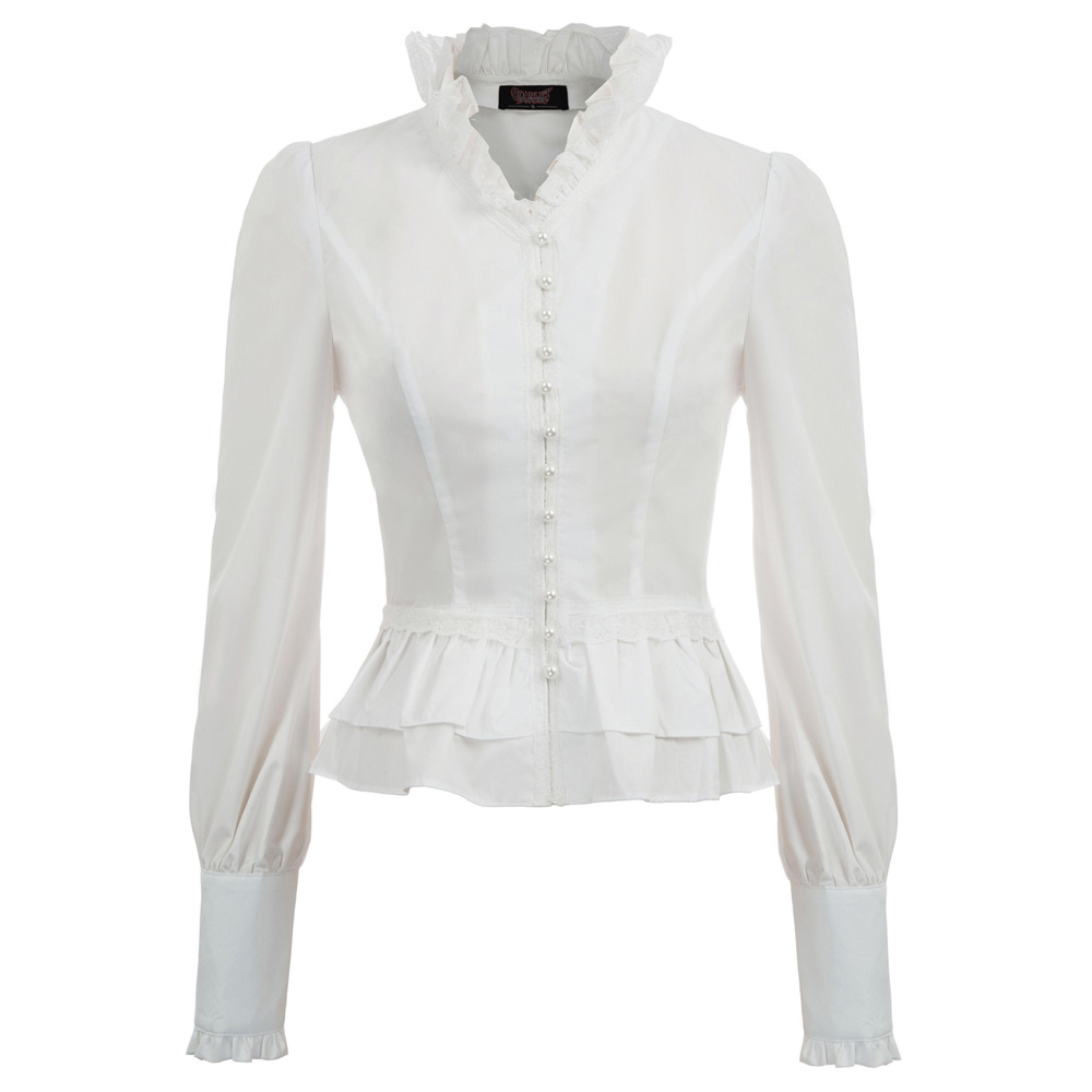 party club lace-up   shirts   Women Spring Fall retro   blouse   Victorian Steampunk Gothic Long Sleeve Stand Collar Corset Lacing Tops