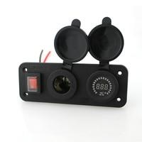 Cigarette Lighter Socket Power with 12V LED Digital Voltmeter with Switch Line