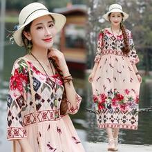 Ethnic Vintage Women Summer Cotton Linen Floral Print Robe Dress Vestidos Femme Boho Beach Holiday Loose Large Plus Size Dresses
