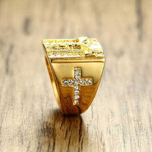 Image 3 - Prayer Jesus Cross White Cubic Zirconia Rings for Men Gold Tone Stainless Steel Crucifix CZ Band Male Jewelry Anel Aneis