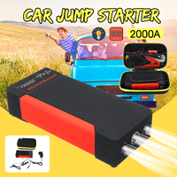 2000A Peaks Car Jump Starter Pack Portable LED Flashlight Power Bank USB Auto Battery Supply Phone Power Clamps For 12V Car Boat