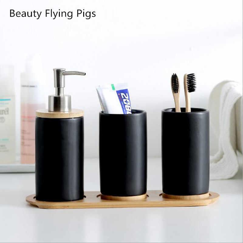 Promocja łazienka zestaw biały czarny ceramika usta kubek uchwyt na szczoteczkę do zębów balsam butelka do pasta do zębów Bamboo deska do przechowywania