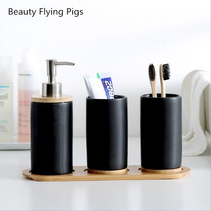 White Black Angels Toothbrush Holder Modern Ceramic Stand Bathroom Oral Health