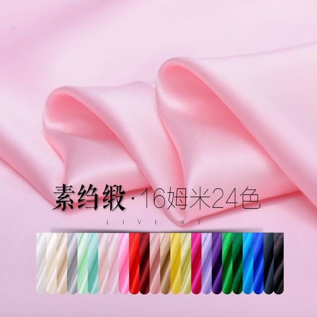 Soft fabric silk satin crepe satin plain dress shirt silk fabrics wholesale high quality silk cloth 24 color