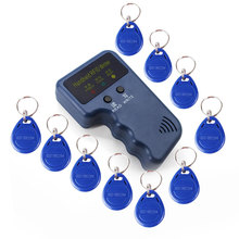 Handheld 125KHz RFID Copier Writer Programmer Reader 5pcs T5577 EM4305 Rewritable ID Keyfobs Tags ID Card Copier RFID Duplicator english rfid nfc copier reader writer duplicator 10 frequency programmer with color screen 5pcs t5577 em4305 cards 5pcs uid key