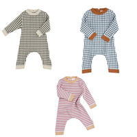 TC 2019 Autumn Baby Girl Romper Clothes ZMHYAOKE Spot New Born Baby Clothes KIDS Chose Plaid Striped Print Baby Boys Rompers