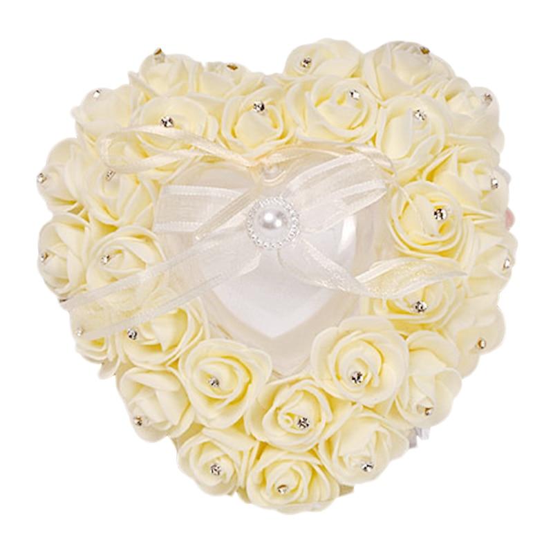 Hot Party DIY Decors Heart Shape Simulation Rose Flowers Jewelry Case 1 Pcs Ring Box Wedding Mariage Decor Ring Pillow Cushion