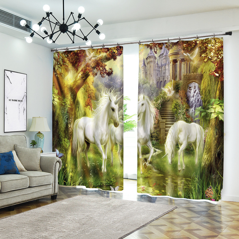 Cheval 1 set impression numérique rideaux occultants pour traitement de fenêtre stores rideaux finis rideaux de fenêtre salon chambre CU238