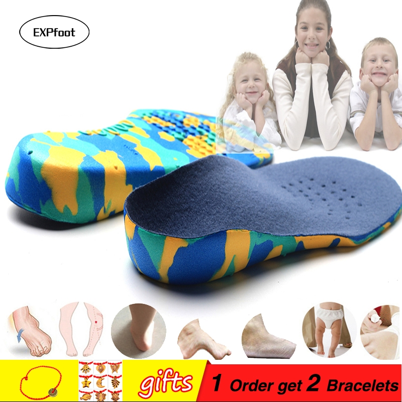 3D Deep Heel Orthotic innleggssåler flate føtter for barn og Children Arch Support innersåle for O / X-bens ortopediske sko Fotpleie