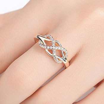 Beiver New Cubic Zirconia Crystal Infinite Rings For Women Fashion Design Statement Rose Gold Color Ring Wedding Jewelry 1