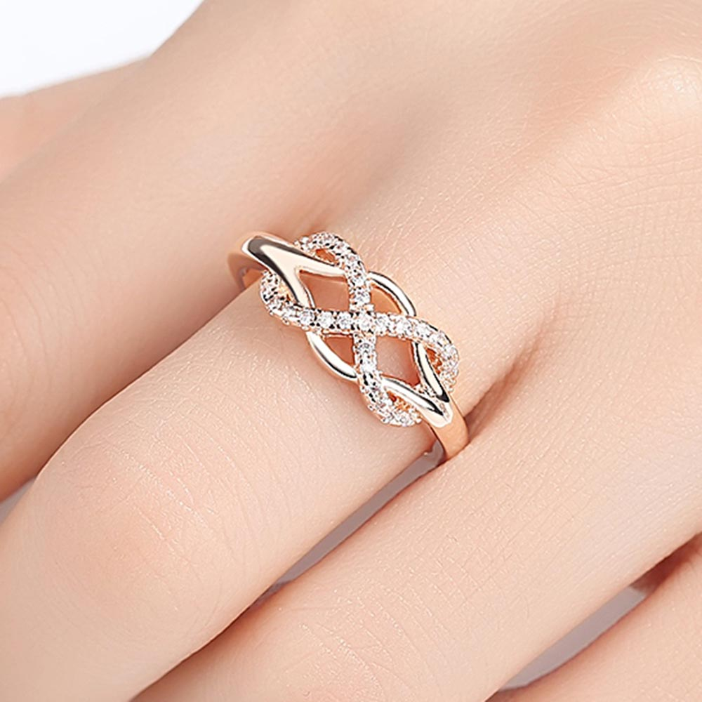 Beiver New Cubic Zirconia Crystal Infinite Rings For Women Fashion Design Statement Rose Gold Color Ring
