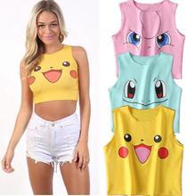 MISSKY Women Vest Cute Cartoon Printing Sexy Sleeveless Bare Navel Design Vest Female Tops For Summer