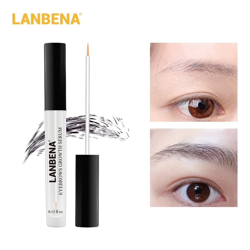 LANBENA suero de crecimiento de cejas más largo más grueso nutre las cejas potenciador de pestañas rápido potente crecimiento del cabello maquillaje belleza
