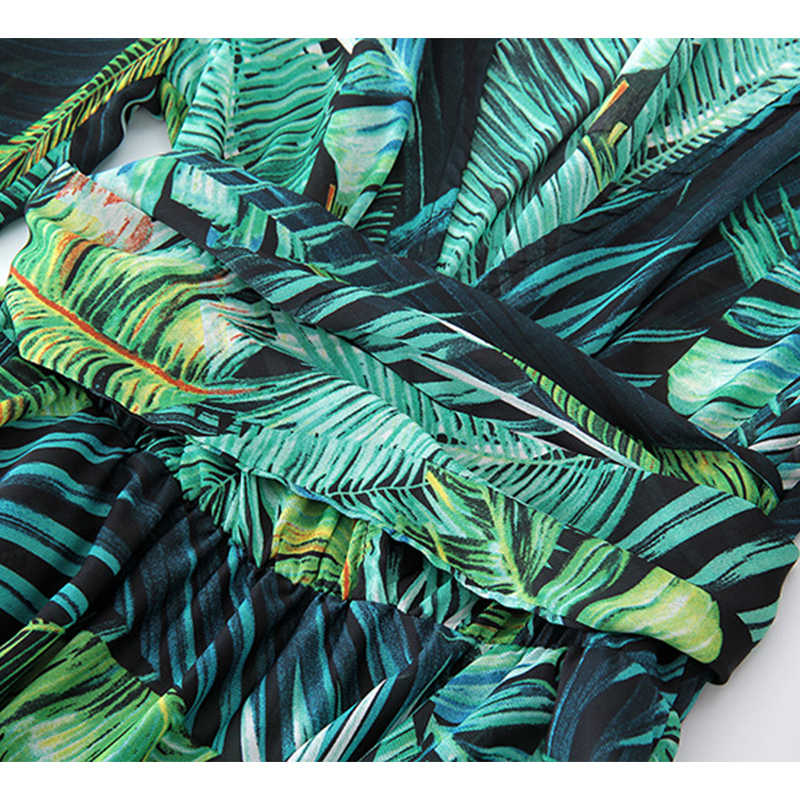 1f1e285434c ... Isiksus Floral Long Sleeve Maxi Dress Boho Dress Women Summer Beach  Vintage A Line Green Tropical