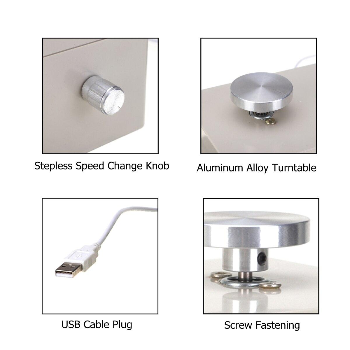5 V USB alliage d'aluminium Mini roue de poterie 4.5 cm bouton de tourne-disque changement de vitesse en continu avec 5 pièces outils en argile en bois - 6