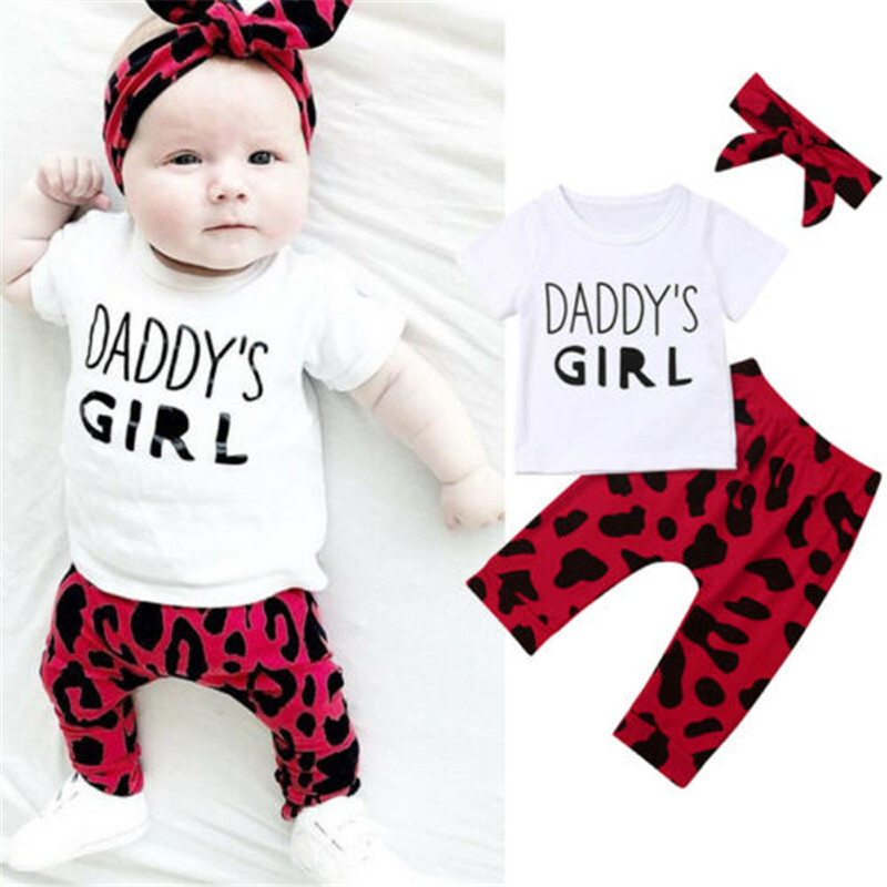 0-24M 3pcs Baby Girls Clothes Set White Short Sleeve T-Shirt For Girl Letter Baby Tops Leopard Long Pants Headband Baby Girl Set