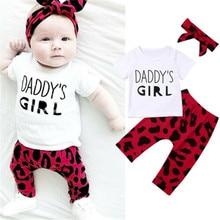 0-24M 3pcs Baby Girls Clothes Set White Short Sleeve T-Shirt For Girl Letter Tops Leopard Long Pants Headband