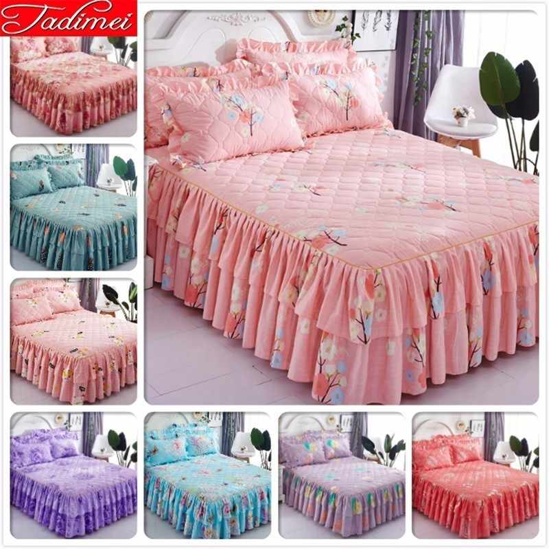 Pink Bed Skirt Queen.Pink Bed Skirt Kids Adult Girl Thick Quilted Sheet Cover Linen Single Twin Full Queen Size Bedspreads Double Lance 1 5m 1 8m 2m