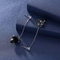 Fine Jewelry Black drop crystal mushroom dangle earrings 925 sterling silver drop earrings for women long simple earrings.