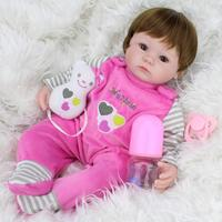 16 Inch Pretty Simulation Silicone Baby Girl Reborn Baby Doll In One piece Dress Brand New And High Quality