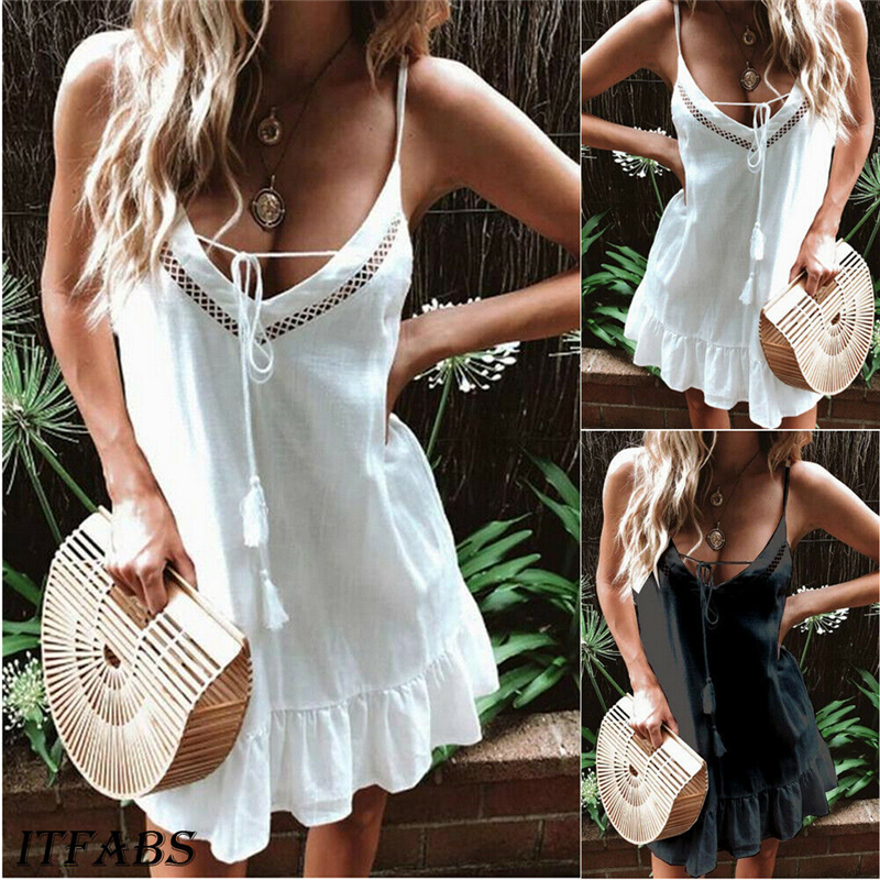 2019 NEW Fashion Womens Summer Hollow Out Sleeveless Boho Large swing Dress Party Evening Casual Beach Sundress Plus Size