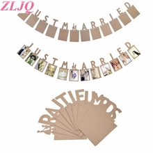 ZLJQ Bride To Be Wedding Bunting Banner Vintage Wedding Party Decoration Bridal Shower Just Married Mr Mrs Photo Frame Garland(China)