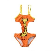 Baby Girls Cartoon Giraffe One-piece Swimsuit Little Girls Cute Monokini Bikini Set Swimwear Swimsuits Bathing Suit Beachwear