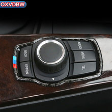 Carbon Fiber Interior accessoriesTrim Car interior Multimedia Button Decor Styling Stickers For BMW e60 5 series 2004-2010