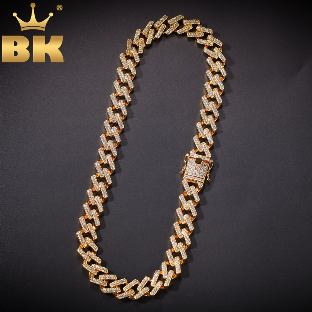 14mm Prong Cubans Link Necklaces Iced Cubic Zirconia Gold White Gold Color Hiphop Chain Jewelry For