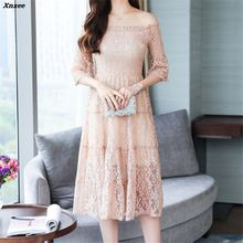 Fashion Off Shoulder Lace Dress Women Hollow Out Sexy Midi Party Dresses 2018 Summer Style Elegant Slim vestidos Xnxee