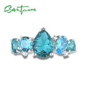 Image 4 - SANTUZZA Silver Jewelry Sets For Women 925 Sterling Silver Blue Green Crystal White CZ Earrings Ring Set  Party Fashion Jewelry