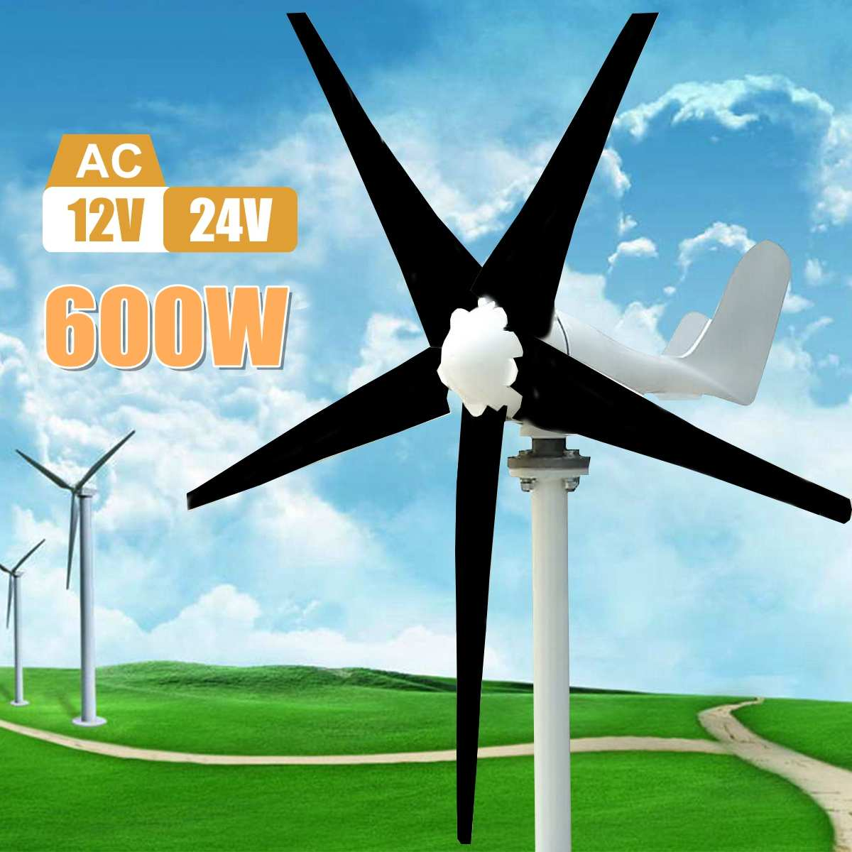 Max 600W Wind Turbine Generator AC 12V/24V 5 Blade Power Supply Generator for Home Hybrid streetlight use Kits-in Alternative Energy Generators from Home Improvement
