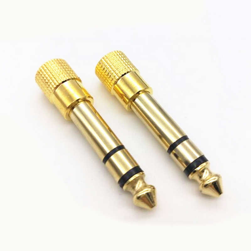 5pcs/set 6.3mm Male Plug to 3.5mm Female Jack Stereo Audio Adapter Golden M/F Headphone Amplifier Audio Connector for Speaker