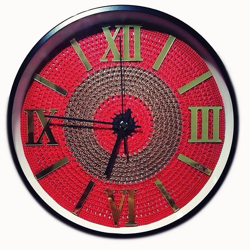 New 3D Wall Clock Silk Crocheted Dial Duvar Saati Handmade Silent Movement Wall Clock Modern Design Wall Watch For Living Room