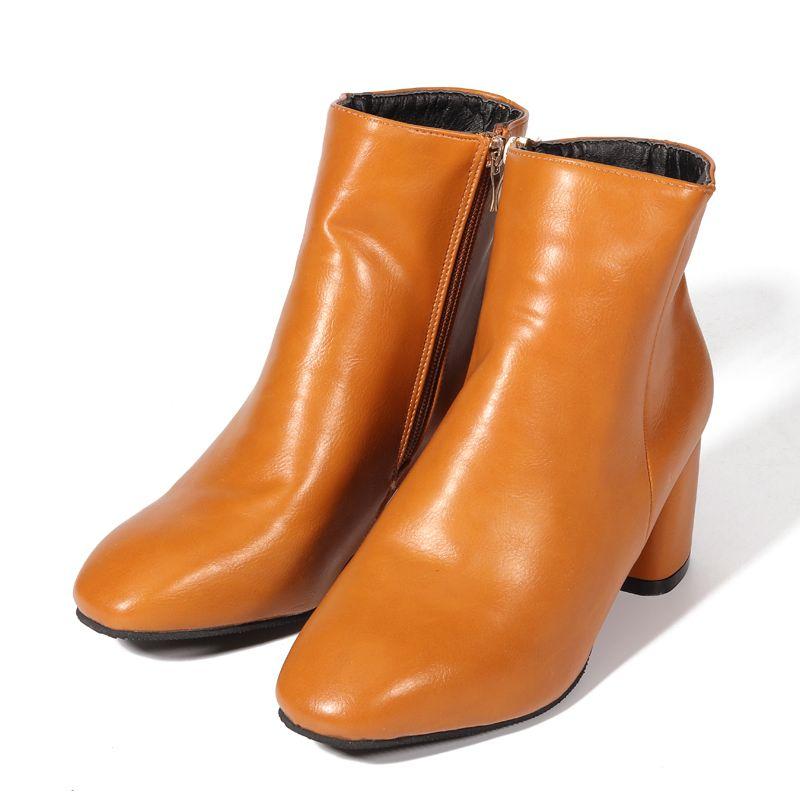 96d15c0e0 gris Negro Zapatos marrón La Cremallera Tacón Pezuña Peluche De Tobillo  Para gris Nis Negro Brown Cuero Mujeres light 6 Cm Invierno Botas ...