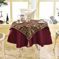 Latest 2 pcs/set Round 140cm Luxury Sequin Outdoor Table Linens Fashion Crochet Jacquard Red Wine Garden Tablecloth Decoration40