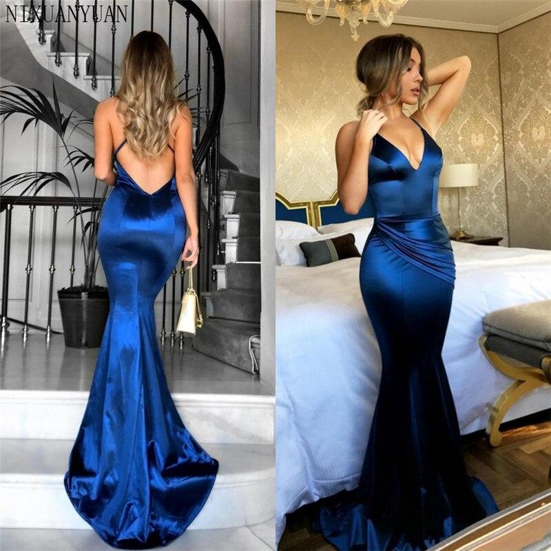 Robe De soirée longue dos nu bleu Royal 2019 longueur De plancher Simple Satin robes De bal robe De fête pas cher robes De mariée