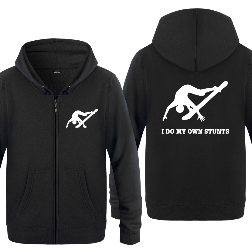 Men's Clothing Stuntman Falling Off Snowboarding Sweatshirts Men 2018 Mens Zipper Hooded Fleece Hoodies Cardigans Volume Large I Do My Own Stunts
