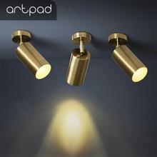 Artpad золотой современный потолочный светильник, нейтральное белое освещение, фон для телевизора, гостиной, отеля, офиса, клуба, бара, тканевая лампа для магазина, потолочный светильник