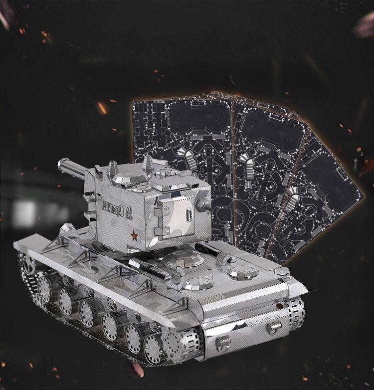 1/48 Auto-verrouillage Échelle Modèle 3D Métal Modèle D'assemblage de BRICOLAGE Kit KV-02 Super Réservoir Livraison Jouets Pour Enfants Gratuite
