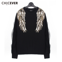 CHICEVER Autumn Kintted Female T shirts For Women Top Patchwork Mesh Sequin Long Sleeve Women's Tshirt Clothes Fashion 2018