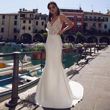 Sexy Mermaid Wedding Dresses 2019 V-neck Sleeveless Spaghetti Straps Beading Applique Elastic Dress for Bride
