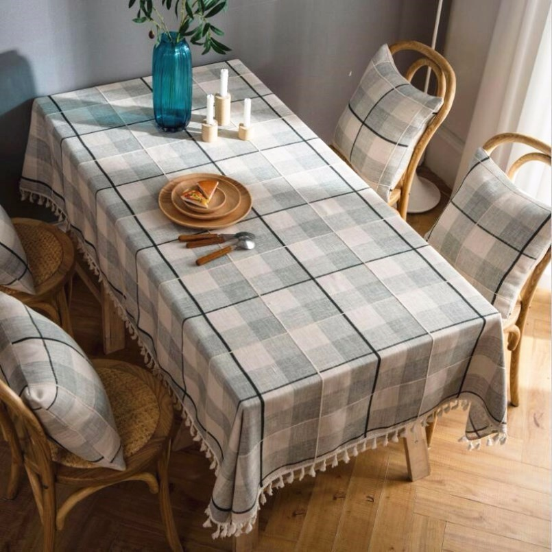 New Tablecloth Plaid Embroidered Fringe Cotton And Linen Europe For Table Rectangular Year Cover