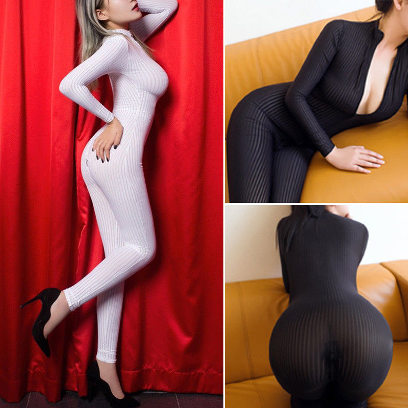 2019 fashion Sexy Women Siamese lingerie Striped Sheer Bodysuit Smooth Fiber Zipper Long Sleeve Jumpsuits