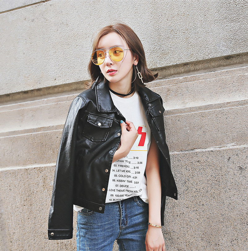 Women Basic Faux Leather Jacket Spring New Arrival Short Design Black Streetwear PU Jackets Punk Button Female Casaco Lederjacke