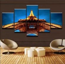 цены на Home Decoration Framework Wall Art 5 Pieces Eiffel Tower Canvas Painting Landscape Modular Pictures For Living Room HD Printed  в интернет-магазинах